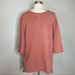 Bershka Men's Pink Short Sleeve Pullover Sweatshirt with Raw Hem
